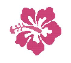 Hibiscus Cross Stitch Pattern in Pink PDF by threadsandthings1