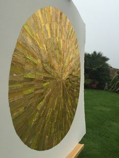GOLD wall art from recycled chocolate foils. Strips carefully cut, selected and glued to form six ripples. Mint Bar, Quality Street, Gold Wall Art, Raw Chocolate, One Color, Recycling, Charlotte, Collage, Collages