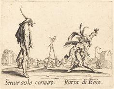 Smaralo Cornuto and Ratsa di Boio | Jacques Callot, Smaralo Cornuto and Ratsa di Boio (ca. 1622)