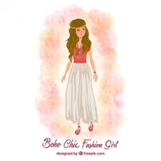 Hand painted boho chic girl Free Vector