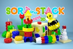 An educational app featuring a wide variety of stacking games encouraging kids aged 3 and up to organise colors, build shapes and create toys.