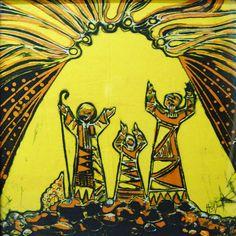 Shepherds and the Good News batik by Hanna Varghese