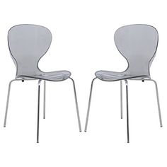 LeisureMod Oyster Transparent Black Dining Chair (Set of 2)