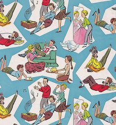 Vintage Whitman Gift Wrap Teenagers by hmdavid