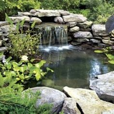 Waterfalls Backyard Ponds With Large Stones , Relaxing Waterfalls Backyard Ponds In Landscaping And Outdoor Building Category