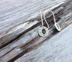 Silver skull earrings by slathered on Etsy
