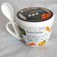 Bowl Légumes. Cuenco de cerámica para sopa con cuchara Bowl, Mugs, Tableware, Spoons, Dinnerware, Tumbler, Tablewares, Mug, Place Settings