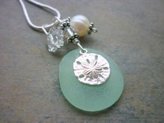 Sea Glass Necklace Sterling Sand Dollar Charm by TheMysticMermaid, $28.50
