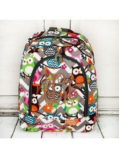 www.ewam.com Gray Chevron Owl Party Large Backpack with Gray Trim