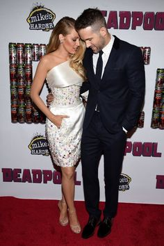 "Ryan Reynolds and Blake Lively at the premiere of ""Deadpool"" in New York"