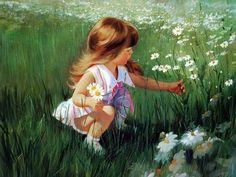 """Daisy Days"", by American artist - Donald Zolan (1937-2009), Oil."