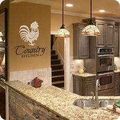 """Kitchen Interior Design Remodeling Country Kitchen - Do you have a country home or rustic inspired decor? """"Country Kitchen (with Rooster)"""" is sure to compliment your kitchen! Kitchen Design Small, Diy Kitchen Remodel, Interior Design Kitchen, Kitchen Countertops, Kitchen Remodel Small, Country Kitchen Designs, Diy Kitchen, Kitchen Renovation, Kitchen Cabinets Makeover"""