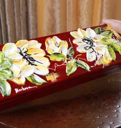 """""""Barbara Scharpf Originals"""" beautiful jewelry box with such an elegant style ready to protect your selected and expensive jewelry pieces.  #art #design #wood #woodcraft #jewelrybox #furniture #colorful #love #passion #flowers #style #beautiful #elegant #red"""