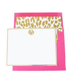 Monogrammed leopard notecards $28