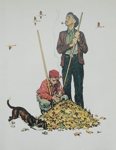 Norman Rockwell Favorite Poster, Vintage Poster Art, Grandpa and Me Fall Autumn,  Antique Art, Printed in 1977