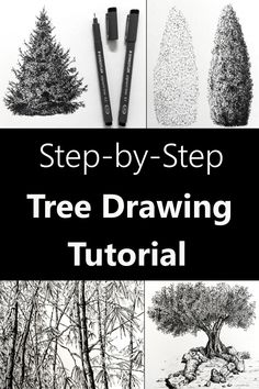 Learn to draw and sketch tree art with pens. Step by step guide with many tree types examples. Pen drawing tutorial with sketches and drawings for beginners. Beginner Drawing Lessons, Beginner Sketches, Drawing Tutorials For Beginners, Pencil Drawing Tutorials, Sketch Ideas For Beginners, Pencil Art For Beginners, Art Lessons, Easy Sketches, Trees Drawing Tutorial