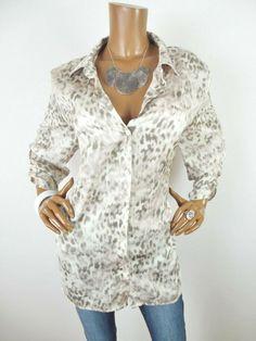 94d0835230c3 CHICO'S Sz 3 Womens Top XL NWT $54 Button Down Shirt Cottage Rose Animal  Print #
