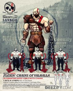 bicep exercise: alternating bicep curls with chains - kratos