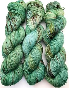 "Hand Dyed Yarn ""Frog on a Log"" Green Yellow Blue Brown Speckled Merino Nylon Fine Fingering Sock Superwash 463yds 100g"