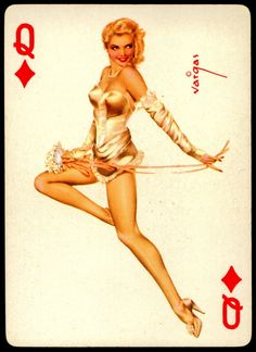 Alberto Vargas - Pin-up Playing Cards (1950) - Queen of Diamonds
