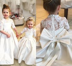 2017 New Lace Long Sleeve Flower Girl Dresses For Weddings Princess Kids With…