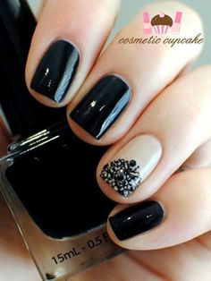 Nail, nail, nail / Black and nude. - PinNailArt, Organize and Share Nail Art You Love.Nail Art's Pinterest !