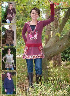 DEBORAH Damen- Schnittmuster Tunika, Shirt, Pullover, Top