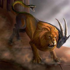 'Chimera' by Debandsketches Greek Creatures, Greek Mythological Creatures, Magical Creatures, Fantasy Creatures, Chimera Mythology, Greek Mythology, Fantasy Beasts, Fantasy Art, Greek Monsters