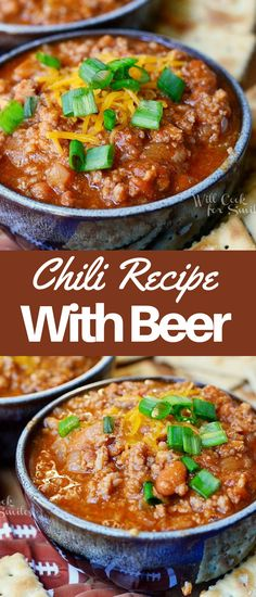 Chili Recipe. Comforting chili made with a combination of ground beef and ground pork, beans, vegetables, chili seasoning, and your favorite beer. Chili Recipes, Crockpot Recipes, Soup Recipes, Dinner Recipes, Chili Bar, Chili Seasoning, Easy Family Dinners, Amazing Recipes, Quick Meals