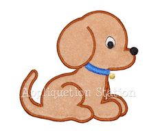Baby Puppy Dog Applique Machine Embroidery by AppliquetionStation, $3.25