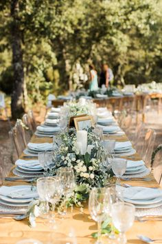Elegant Trestle Table with Green Crockery - Wedding Party | Maria Rão Photography | Outdoor Destination Wedding | Luz Houses Portugal Venue | Green Colour Scheme | UHMA Store Wedding Dress