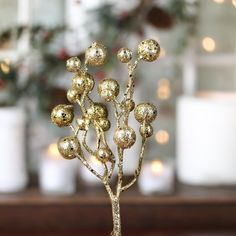 """""""his Gold Glitter Whimsical Ball Pick couldn't be better for enriching your surroundings & providing your decor with magical holiday wonderment. As the color gold celebrates Christ's wisdom and the wealth of happiness, love, and generosity, its rich, sparkling gold composition perfectly exemplifies Christmas. Monochromatic beauty is displayed in this playful, glitzy pick, as a modest wiry base stem's tip is wrapped in raw umber brown floral tape... #bells #Xmas"""