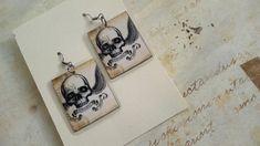 Winged skull - gothic earrings from paper with skeleton picture Gothic Earrings, Paper Earrings, Bubble Envelopes, Paper Dimensions, Skeleton, Handmade Items, Skull, Etsy Shop, Beige