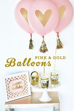 Pink and Gold Balloons - bridal shower balloons are perfect for a bridal shower balloon centerpiece idea!  Printed with metallic gold hearts too!  by Mod Party