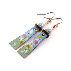 Spring Meadow Enamel Earrings by CinLynnBoutique on Etsy