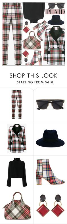 """Check It: Plaid Girl's Night"" by shoaleh-nia ❤ liked on Polyvore featuring Racil, Christian Dior, Maison Michel, Golden Goose, Polly Plume, Vivienne Westwood and Marni"