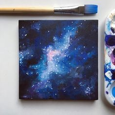 Galaxy Painting Space Painting Space Print by JenAranyiDesign
