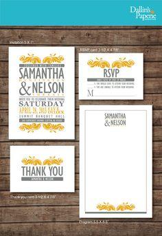 Modern Yellow and Gray Wedding Invitation RSVP Thank you card Ceremony program DIY Printable - Customized