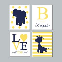 NAVY YELLOW Nursery DECOR Wall Art Elephant Monogram Initial Quote Giraffe Set of 4 Prints Safari Jungle Animals Baby Boy Girl Decor