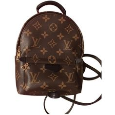 Pre-owned Louis Vuitton Leather Backpack (11 010 PLN) ❤ liked on Polyvore featuring bags, backpacks, brown, women bags backpacks, brown leather rucksack, day pack backpack, brown leather bag, louis vuitton and brown leather backpack