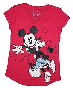 Disney Mickey & Minnie Mouse BIG KISS Womens Pajama T Shirt Top - Red