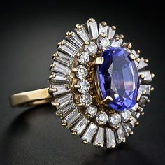 Tanzanite and diamond ballerina ring from the archives of Lang Antiques