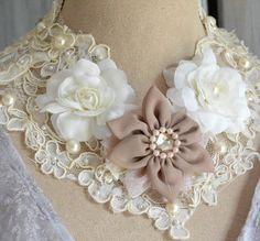 Lace bib necklace, Romantic shabby lace statement jewelry, Whimsical collar, Mori girl choker, Cottage lace, True