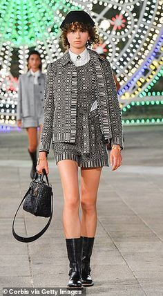 A fuzz of geometric squares are seen in a three piece co-ord... Cruise Collection, Co Ord, Catwalk, Cool Style, Style Fashion