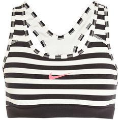 Nike Pro Classic Dri-FIT striped stretch-jersey sports bra (640 UYU) ❤ liked on Polyvore featuring activewear, sports bras, tops, bras, underwear, workout, white, stretch jersey, nike activewear and nike sports bra