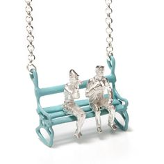 It's summer time! pastel blue bench necklace by Yael & Tal