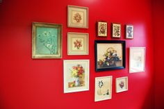 california pixie vintage decor red wall walls dime store floral prints 40s