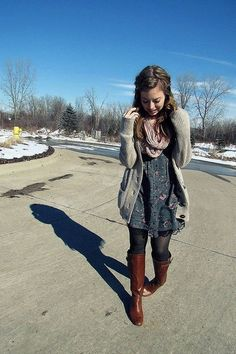 Cardigan, dress, scarf, tights, and boots