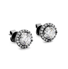These Cubic zirconia Halo set studs are stunning with their dark Black Rhodium plated finish Sterling Silver Earrings Studs, Stud Earrings, Halo Setting, Black Rhodium, Black Backgrounds, Cufflinks, Engagement Rings, Dark, Accessories