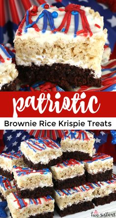 Patriotic Brownie Rice Krispie Treats - perfect for a 4th of July party or Memorial Day barbecue these beautiful and yummy dessert bars feature Brownies and Rice Krispie Treats. Your family will ask you to make these patriotic 4th of July Desserts again and again.  Pin these great 4th of July Treats for later and follow us for more fun 4th of July Food Ideas. #4thofJuly #fourthofjuly #4thofJulyTreats #4thofJulyFood Desserts Fourth Of July, Memorial Day Desserts, Blue Desserts, 4th Of July Cake, 4th Of July Party, Yummy Treats, Delicious Desserts, Homemade Rice Krispies Treats, Easy Holiday Recipes